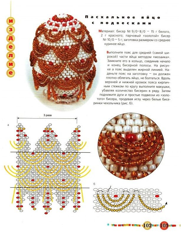 Beaded Covers for Easter Eggs • 3 Schemes are provided as charts only. With a little but of revision this would be a glorious Christmas bauble cover.