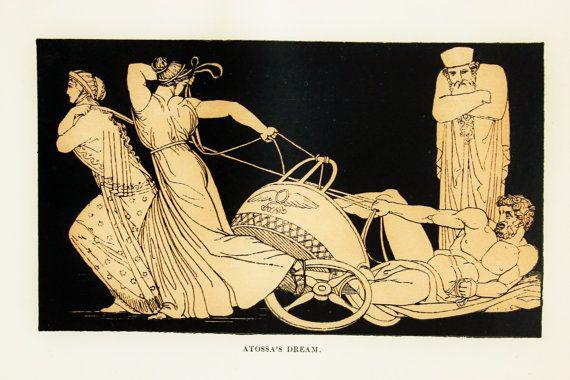 Atossa's Dream - Homer, Iliad, Ancient Greek Tragedy illustration by Flaxman