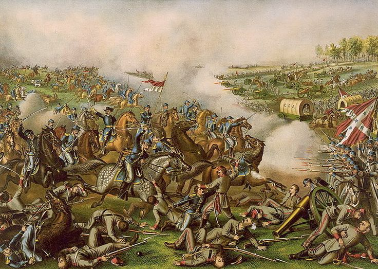 "Painting of the Civil War Battle of Five Forks, Virginia, showing a charge led by Union General Philip Sheridan. Credit: Kurz & Allison; Library of Congress. Read more on the GenealogyBank blog: ""Researching Old Military Records & War Stories in Newspapers."" http://blog.genealogybank.com/researching-old-military-records-war-stories-in-newspapers.html"