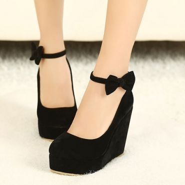 USD16.99Fashion Round Closed Toe Super High Wedges Black Suede Ankle Strap Pumps