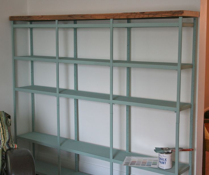Annie Sloan Chalk Paint makeover on metal shelves (love the wood finish)