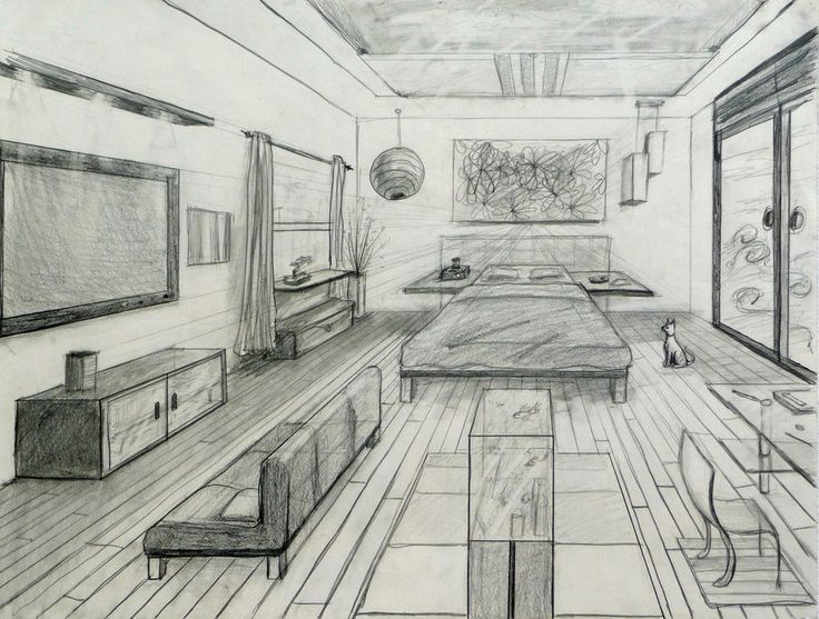 One point perspective fancy bed room drafting and design for 3d bedroom drawing