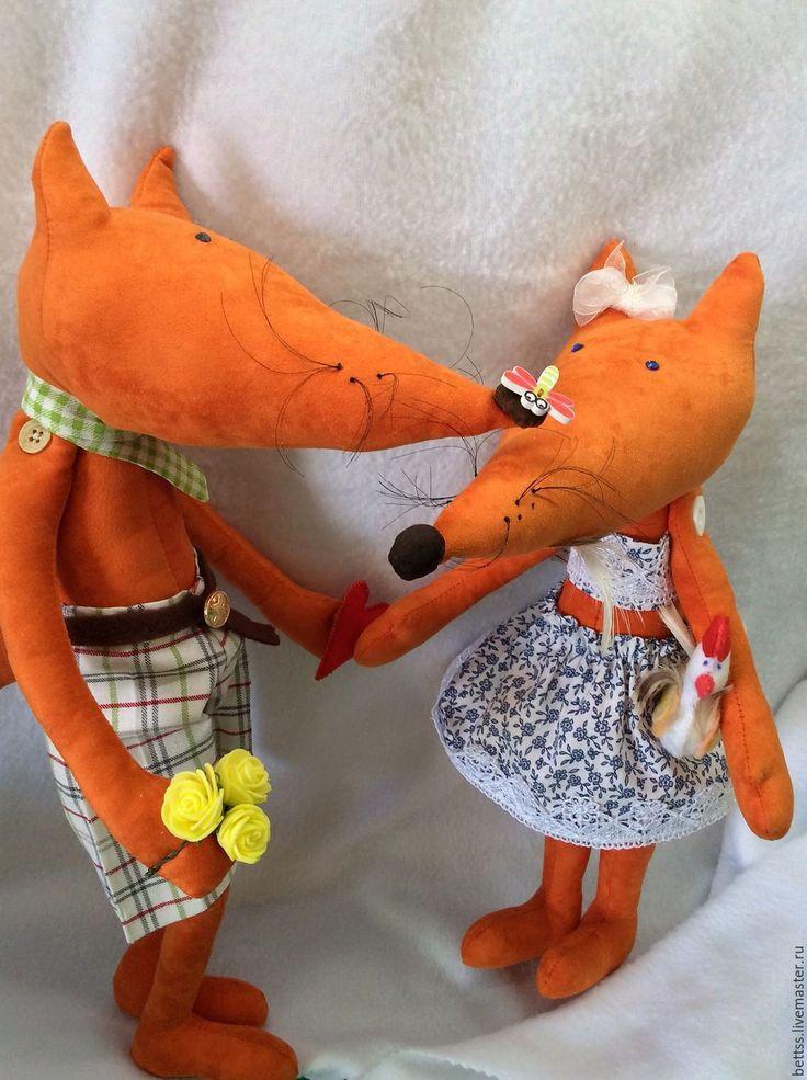 Купить Лиса Патрикеевна и рыжий Лис. - оранжевый, лиса игрушка, лиса рыжая, лиса тедди