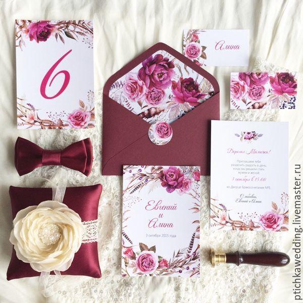 Купить Акварельные свадебные приглашения Бургундия бохо в цвете марсала - приглашение на свадьбу, акварельные приглашения