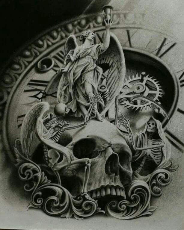 Skull And Angel Clockwork Tattoo Designs Time Tattoos Tattoos
