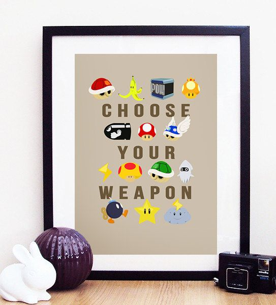 Nintendo Mario Kart Choose Your Weapon Poster Print A4 / 8x10 $11.50