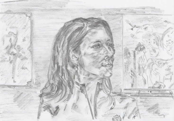 """Drawing. A4.  """"A very special visit - in my sweet little Atelier/Galleri"""""""