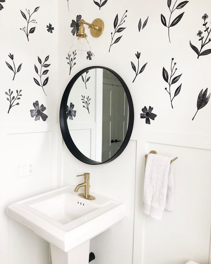 Inked Florals In 2020 Bathroom Design Home