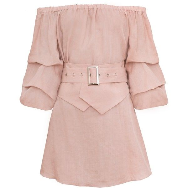 Rosa Linen Belted Off The Shoulder Dress found on Polyvore featuring dresses, vestidos, rosette dress, corsette dress, rose pink dress, pink linen dress and pink corset dress