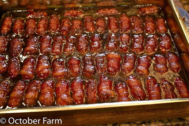 Bacon wrapped little smokies with brown sugar