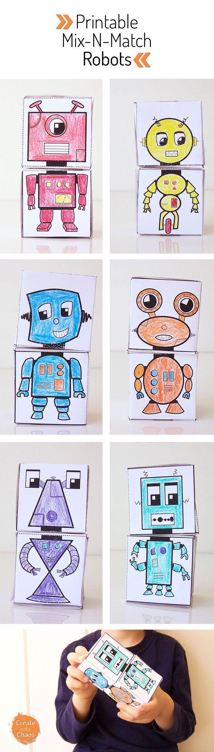 Free printable mix-n-match robot blocks - fun and easy kids craft! www.createinthech...