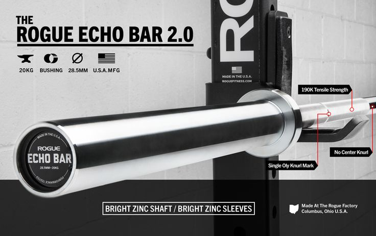 Featuring a bright zinc finish and snap-ring sleeve design, the Rogue 28.5MM Echo features quality not found in traditional economy barbells. Get yours at Rogue today!