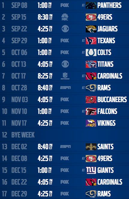 Seahawks 2013 Game Schedule