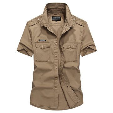 AFSJEEP Casual Loose Cotton Breathable Chest Pockets Short Sleeve Outdoor Shirts for Men