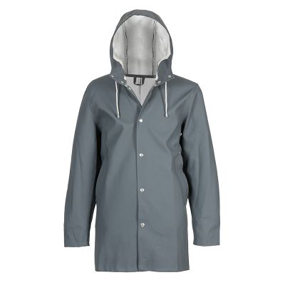 STUTTERHEIM  STOCKHOLM  €225  The Stockholm raincoat references the original raincoat and is double welded. It also has no separate lining, just the rubberized thick cotton, making it a leaner version of the Arholma. The coat has snap closures, drawstrings and exemplifies both versatility and durability in its design.