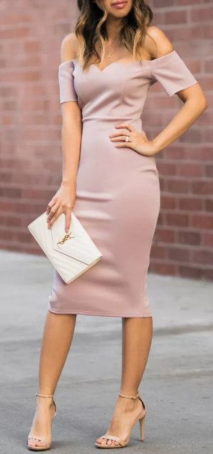 This sleek, mauve, figure-hugger would work great as a bridesmaid gown or for any special occasion.
