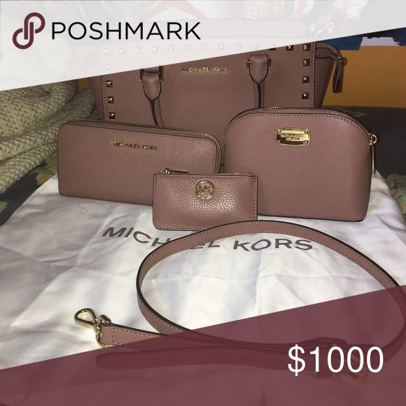 ✨TRADE?✨Michael kors dusty rose set selma wallet WILL PARTIALLY TRADE. All authentic. Dusty rose color. Comes with bag (selma medium studded). Wallet makeup bag and key case. VERY VERY SELECTIVE TRADES ON THESE ITEMS!! I WILL NOT TRADE FOR CLOTHES OR MAKEUP ONLY DESIGNER ITEMS JORDANS AND MK WATCHES!!! PRICE IS NOT MY PRICE, VINTED ONLY OR TRADES! Michael Kors Bags Satchels