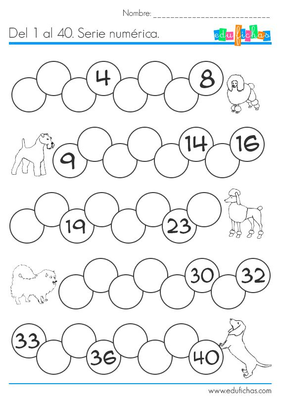Ejercicio de serie numérica del 1 al 40. Ejercicio de números para contar de uno en uno. Ejercicios y hojas de trabajo para aprender a contar. Fichas gratis