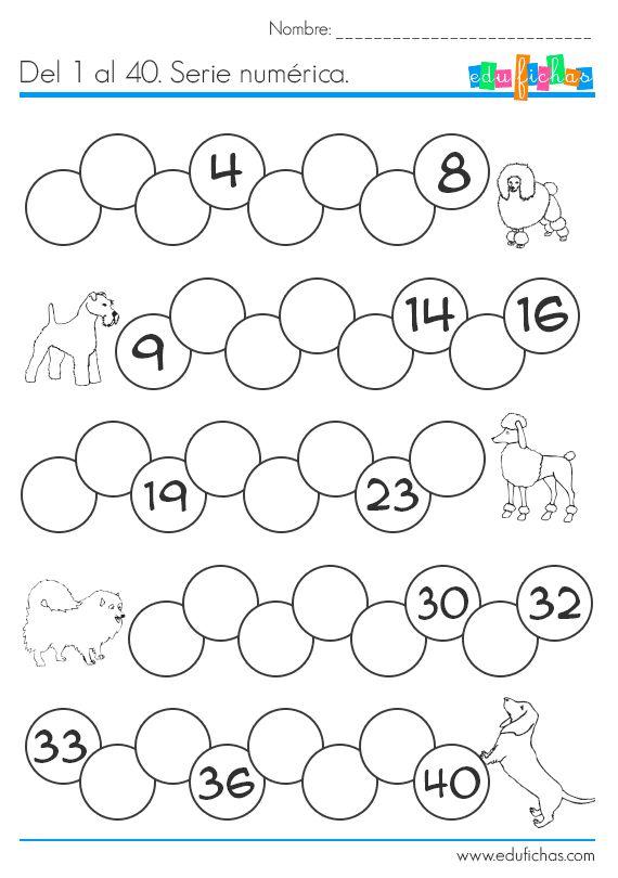 Serie numérica del 1 al 40. Actividades gratis para niños