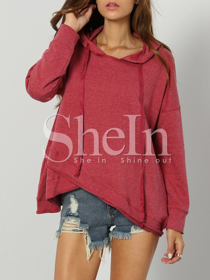 Shop Rose Red Hooded Long Sleeve Sweatshirt online. SheIn offers Rose Red Hooded Long Sleeve Sweatshirt & more to fit your fashionable needs.