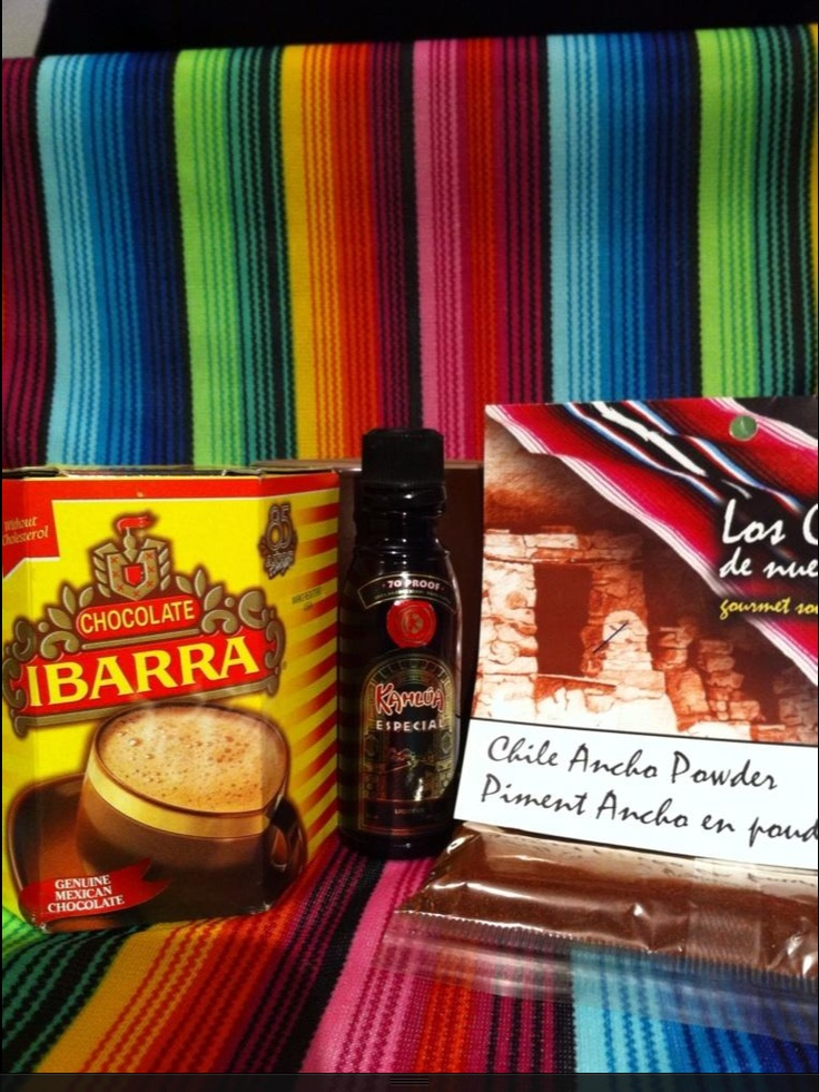 Mexican Hot Chocolate: Ibarra Chocolate, Chile Ancho Powder and Kahlua > YUM!
