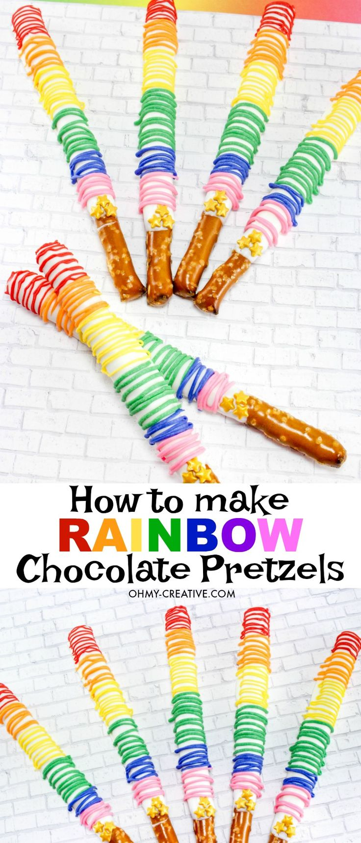 How to make Chocolate Covered Pretzel Rods | Rainbow Pretzel Rods | OHMY-CREATIVE.COM | white chocolate pretzels | Chocolate Pretzel Sticks | Pretzel Rods | Pretzel Sticks | Chocolate Covered Pretzels | Dipped Pretzels | St. Patrick's Day | Rainbow Dessert | Easy Finger Food