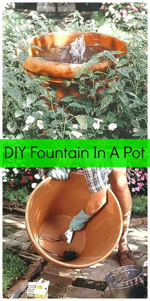 DIY fountain in a clay pot