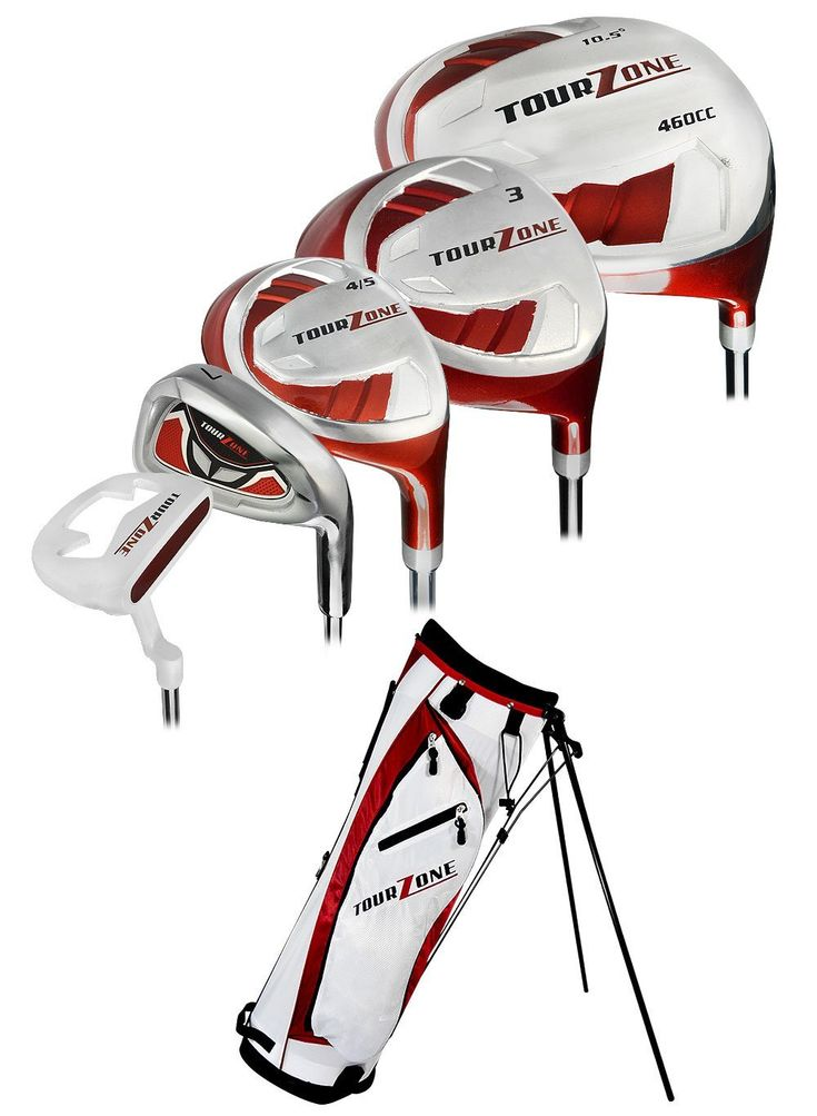 These great looking mens tour zone golf club box sets by Tour Edge provide 10.5 driver, 3 wood, #4/5 hybrid, #6-PW steel irons, putter and lightweight stand bag