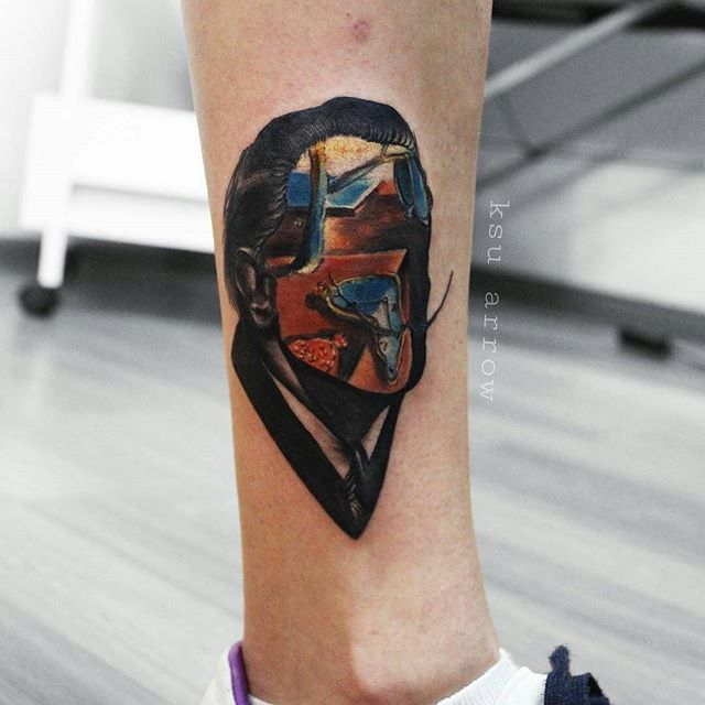 Постоянство времени, Дали от @ksuarrow_tattoo  По записи / booking - Директ / DM - whatsup, viber, telegram - 8(999)8450805 - arrow.tattoo@yahoo.com #tattoo #ksuarrow #татумосква #тату #salvadordali #salvadordalitattoo #dali #dalitattoo #ink #татуировка #сальвадордали #thepersistenceofmemory
