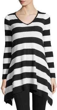 yes please -- Neiman Marcus Striped Knit V-Neck Tunic, Black/Ivory -- http://www.hagglekat.com/neiman-marcus-striped-knit-v-neck-tunic-blackivory/