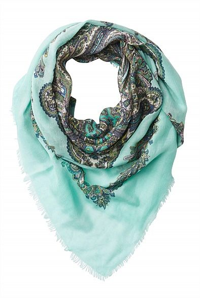 Paisley Print Scarf. Another beautiful Witchery scarf that I must have! Classic Paisley print and very pretty aqua/mint green colour will be a great feature for a basic outfit. $49.95. #witcherywishlist