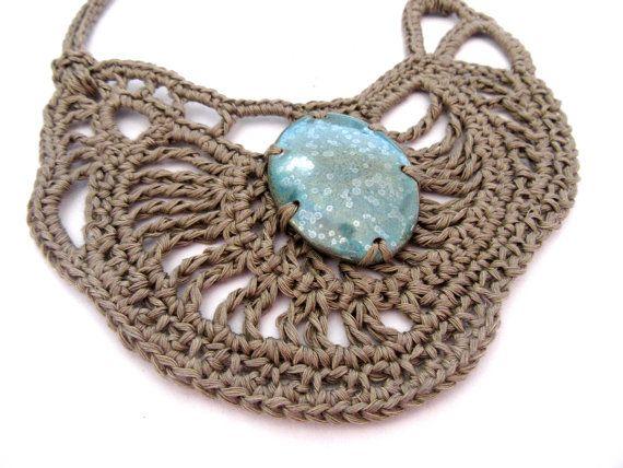 Crochet boho necklace,tribal necklace,fiber necklace,native necklace,linen necklace,ceramic bead,aqua,giada cortellini,summer  Ethnic-tribal-boho