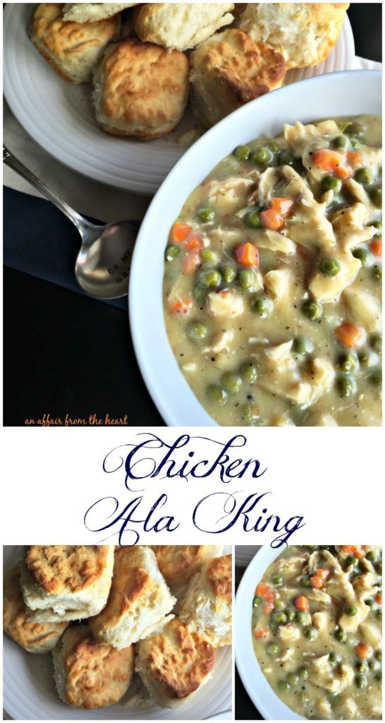 Chicken Ala King - An Affair from the Heart  Super easy recipe for Chicken (or Turkey) Ala King – using left over meat and frozen veggies.