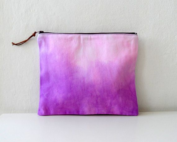 Purple Pink Ombre Clutch/ Ombre zipper Pouch/ by ShebboDesign, $26.00