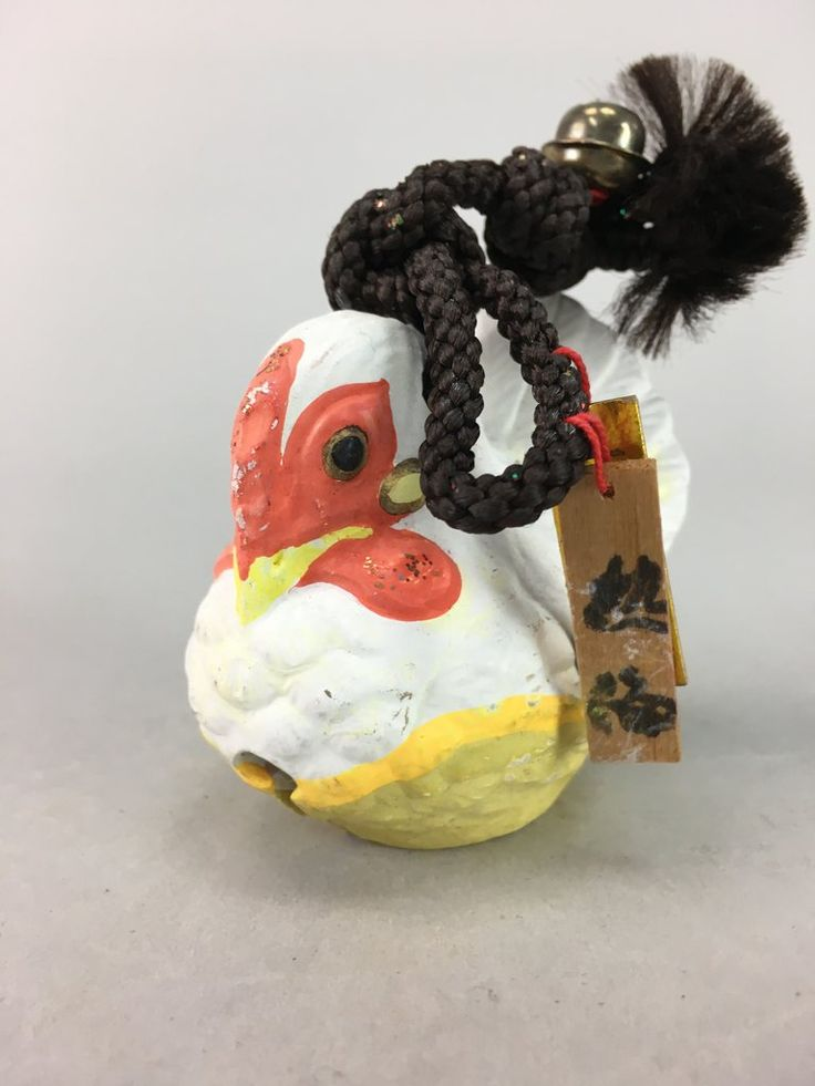 clay bell dorei pottery toy lucky charm white rooster oriental zodiac vtg Japanese amulet Atami