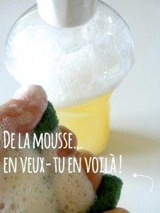 liquide vaisselle qui mousse- 1 verre de savon noir liquide (ou 3 caS de savon en pate) - 1 càs de cristaux de soude - 20ml de mousse de Babassu (aromazone) - 40 gouttes d'huiles essentielles de citron