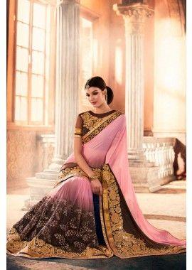 georgette rose, sari net, - 161,00 €, #SariMariage #Sari en ligne #RobeBollywood #Shopkund