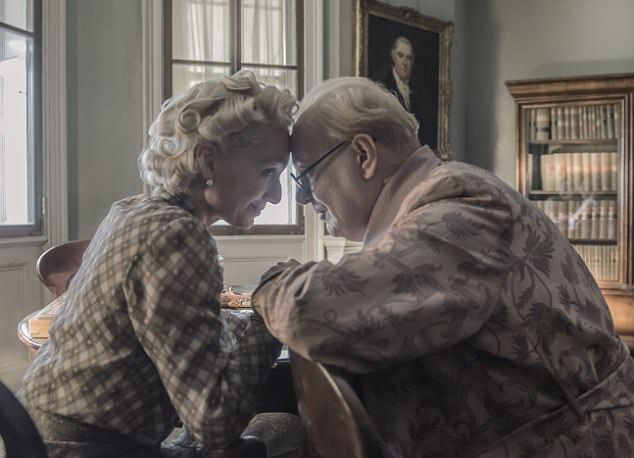 Gary Oldman portrays Winsont Churchill in the new film, Darkest Hour. Itich also stars Kristin tt Thomas as Clementine Churchill (pictured with Oldman), Stephen Dillane as Viscount Halifax, Ronald Pickup as Chamberlain and Lily James as a private secretary, will have its world premiere at the Telluride Film Festival tonight.
