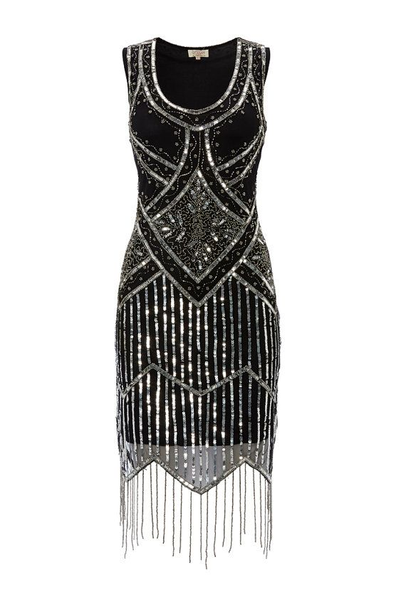 Black Vintage inspired 1920s vibe Flapper Great Gatsby Beaded Charleston Sequin Art Deco Wedding Party  Fringe Dress New Hand Made