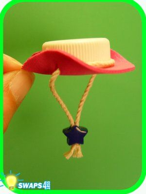 Pink Cowgirl Hat Scout SWAPS Craft Kit - Swaps4Less  ...for 1 of Barbie's little sisters: Craft foam, bottle cap, twine or string, glue, and a star shaped bead - how cute!  kj