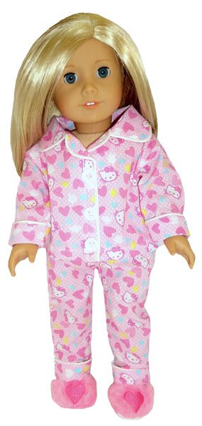 These cute Hello Kitty pyjamas are sooooo cute!  The top fastens at the front with a Velcro strip and the pants have an elastic waist.