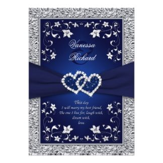 Navy Silver Floral Hearts FAUX Foil Wedding Invite