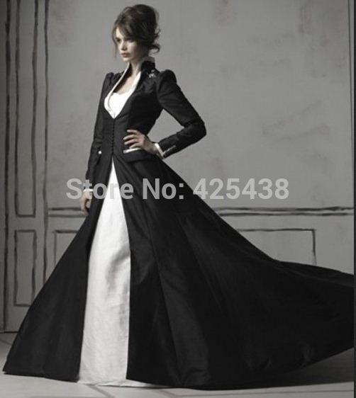 Aliexpress.com: Koop Vintage Wit Gothic Trouwjurken met Lange Mouw Zwart Satijn Jas Bruidsjurken van betrouwbare schoenen jurk bruiloft leveranciers op Tailor Your Dresses