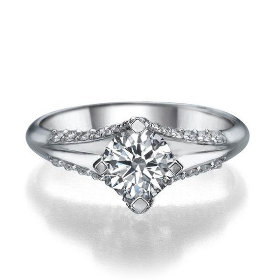 1 Carat Unique Diamond Ring - Victorian Style White Gold Engagement Ring, 14/18k Split Shank Promise Ring,Vintage Diamond Wedding Ring