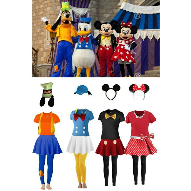 Disney Goofy, Donald Duck, Mickey Mouse, and Minnie Mouse running costumes