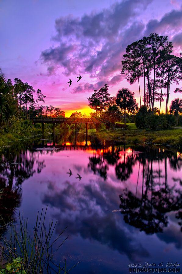 Purple sunset over Riverbend Park in Jupiter, FL