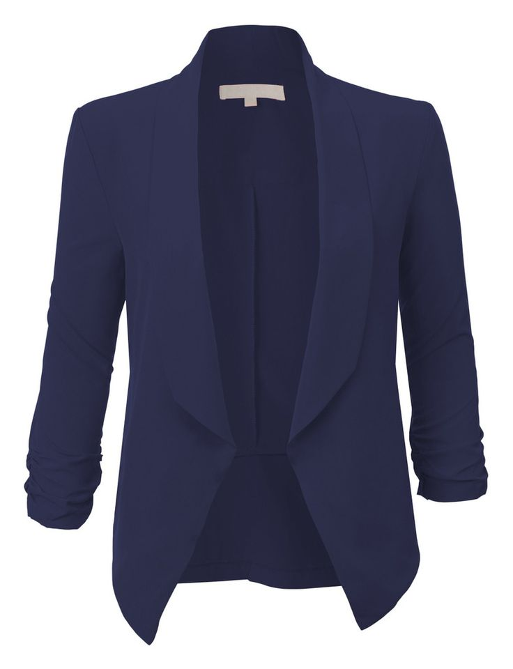 Womens Lightweight Ruched 3/4 Sleeve Open Front Blazer Jacket | Stylists Sleeve And Blazers