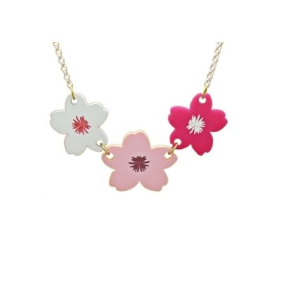 Cherry Blossom Statement Necklace Pastel shades & hot pink mix of floral cherry blossom flowers oversized for a real statement to make your spring summer 2016 outfit pop