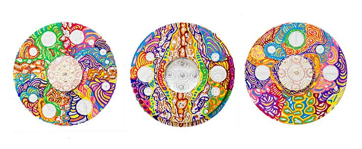 """Tondos: """"Paradiso"""" (4,5,6). Polyptych by Irena Lisiewicz. Inspiration - """"The Divine Comedy"""" (Paradise) by Dante Alighieri. Original abstract painting - contemporary art. Medium: acrylic on MDF board. Diameter of a tondo: 15"""". #art, #acrylic, #painting, #collections, art object, #bas-relief, #tondo, #finearts, #symbol, #original, #paradiso, #Dante Alighieri, #TheDivineComedy, #paadise, #contemporaryart, #polyptych, #IrenaLisiewicz"""