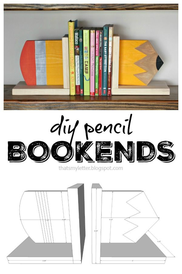 DIY pencil bookends with free plans are a fun and easy project to spruce up a bookshelf in your child's room or make a great gift for a teacher!